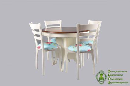 Meja Makan Bundar Shabby Chic model terbaru desain cantik meja makan bentuk bundar shabby chic harga murah dan berkualitas untuk ruang makan kecil
