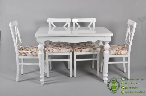 Meja Makan Minimalis Kursi 4 Warna Putih model terbaru desain cantik