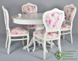 Meja Makan Oval Minimalis Putih model terbaru desain cantik shabby chic harga murah dan berkualitas produk furniture jepara